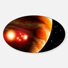 Artwork of first comet impacts on J Sticker (Oval)