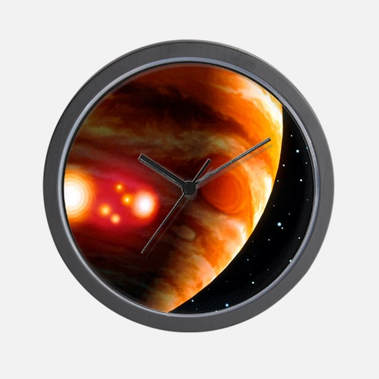 Artwork of first comet impacts on Jupit Wall Clock