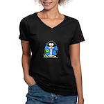 Bowling Penguin Women's V-Neck Dark T-Shirt