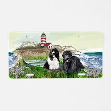 Two Newfs Seascape Aluminum License Plate