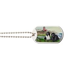 Two Newfs Seascape Dog Tags