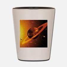 Artwork of red dwarf star with flares o Shot Glass