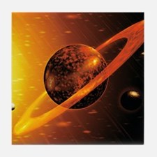 Artwork of red dwarf star with flares Tile Coaster