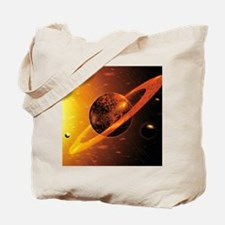 Artwork of red dwarf star with flares ove Tote Bag