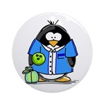 Bowling Penguin Ornament (Round)