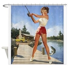 Pin Up Girl, Fishing, Vintage Poster Shower Curtai