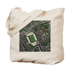 Arsenal's Highbury stadium, aerial view Tote Bag