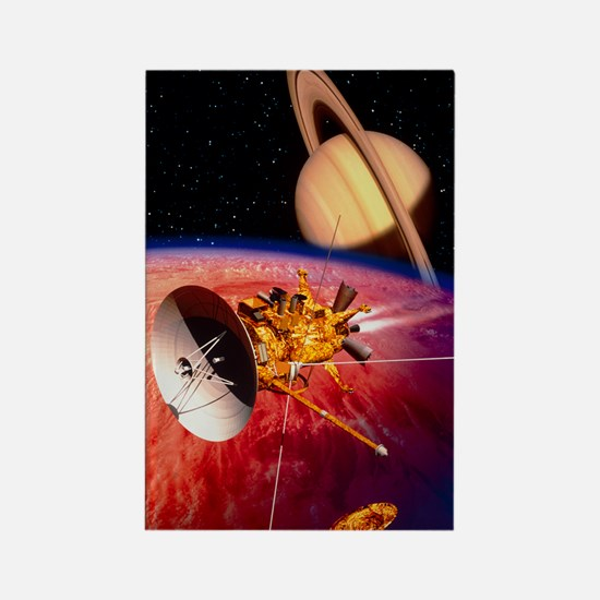 Artwork of the Cassini spacecraft Rectangle Magnet