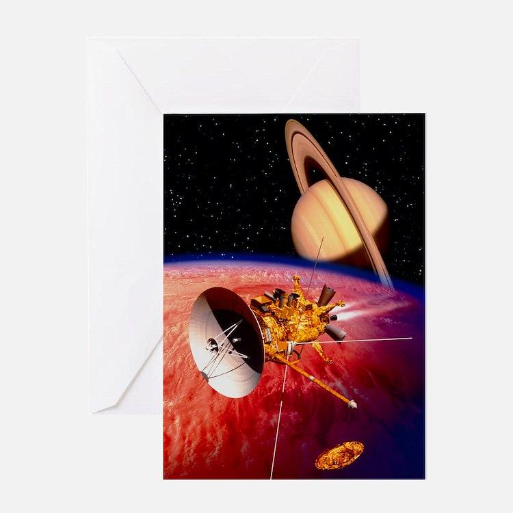 Artwork of the Cassini spacecraft ne Greeting Card