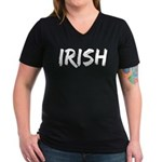 Irish Handwriting Women's V-Neck Dark T-Shirt