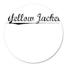 Yellow Jacket, Vintage Round Car Magnet