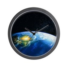 Artist's impression of asteroid stiking Wall Clock