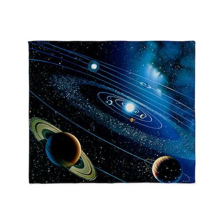 Artwork of the solar system Throw Blanket