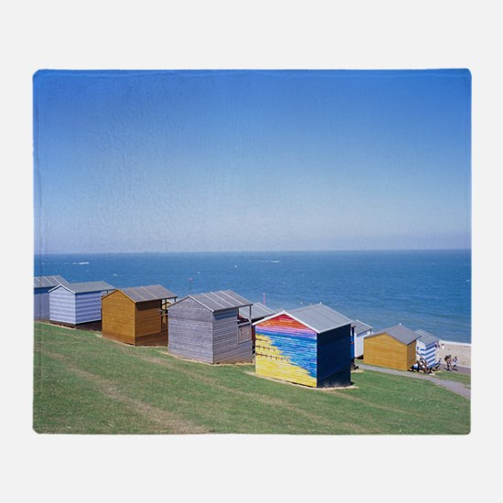 Beach huts Throw Blanket