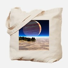 Artwork of Europa's surface with Jupiter  Tote Bag