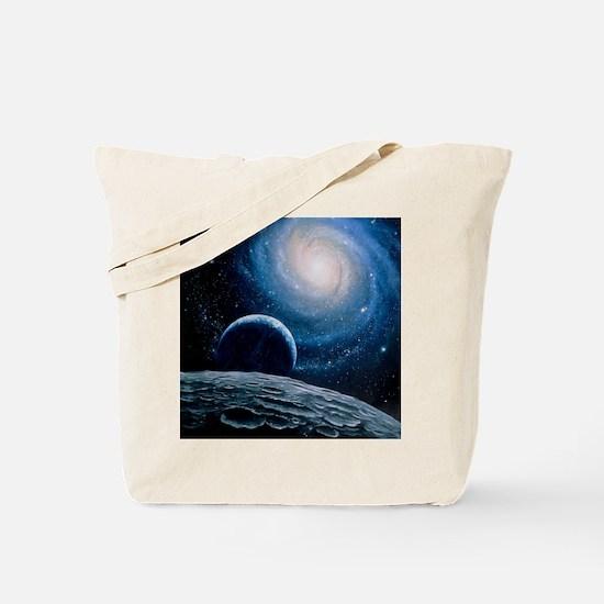 Artwork of a spiral galaxy Tote Bag