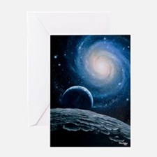 Artwork of a spiral galaxy Greeting Card