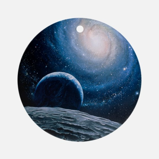 Artwork of a spiral galaxy Round Ornament