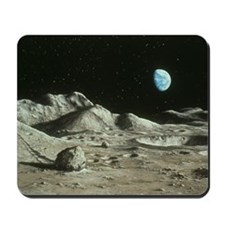 Artwork of Moon's surface with Earth in  Mousepad