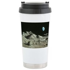 Artwork of Moon's surface with  Travel Mug