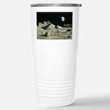 Artwork of Moon's surface with  Travel Mug