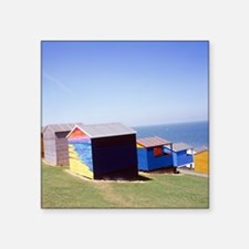 "Beach huts Square Sticker 3"" x 3"""