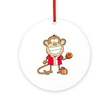 Bowling Monkey Ornament (Round)