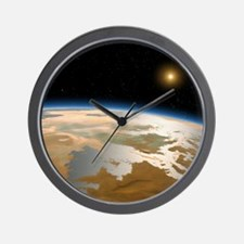 Artwork of ancient Mars with water on i Wall Clock