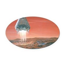 Artwork of exploration module land Oval Car Magnet