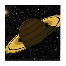 Artwork of Saturn casting a shadow on Tile Coaster