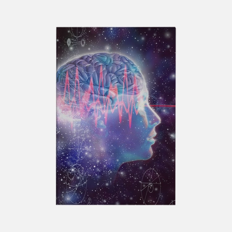 Artwork of human head with brain Rectangle Magnet