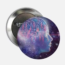 """Artwork of human head with brain 2.25"""" Button"""