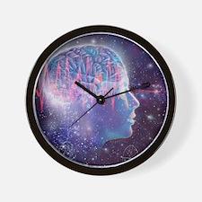 Artwork of human head with brain Wall Clock