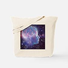 Artwork of human head with brain Tote Bag