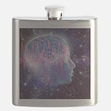 Artwork of human head with brain Flask