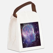Artwork of human head with brain Canvas Lunch Bag