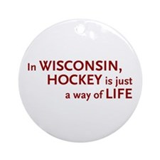 Wisconsin Hockey Ornament (Round)