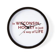 Wisconsin Hockey Wall Clock