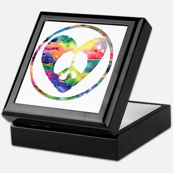 Peace Heart Rainbow C Keepsake Box