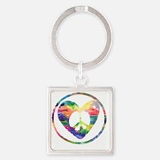 Peace Heart Rainbow C Square Keychain
