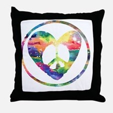 Peace Heart Rainbow C Throw Pillow