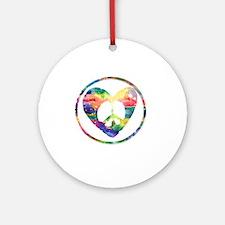 Peace Heart Rainbow C Round Ornament