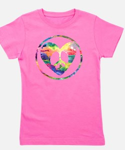 Peace Heart Rainbow C Girl's Tee