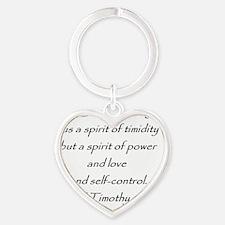 2tim1:7 Heart Keychain