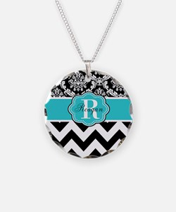 Blue Damask Chevron Personalized Necklace
