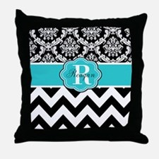 Blue Damask Chevron Personalized Throw Pillow