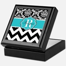 Blue Damask Chevron Personalized Keepsake Box