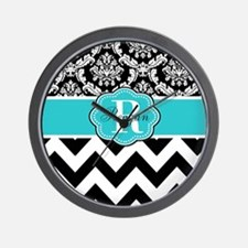 Blue Damask Chevron Personalized Wall Clock