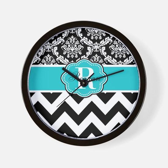 Blue Damask Chevron Personalized Wall Clock