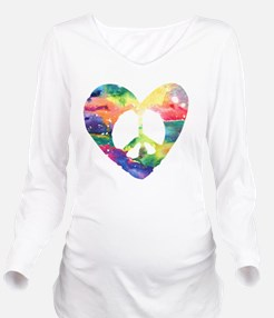 Peace Heart Rainbow Long Sleeve Maternity T-Shirt